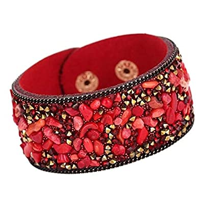 ZUOZUO Leather Wristband Handmade Stone Crystal Bracelet Leather Bracelet Jewelry Gift Round Rope Bracelet 22Cm Estimated Price £16.99 -