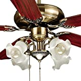 "FJ WORLD D52026, Elegant and Classy ceiling fan with 5 blades 52"", 4 lights and free remote"