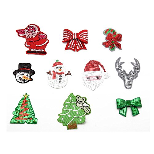 (10pcs Iron-on Embroidered Patch Motif Applique,Hotfix Glitter Sequin (Christmas))