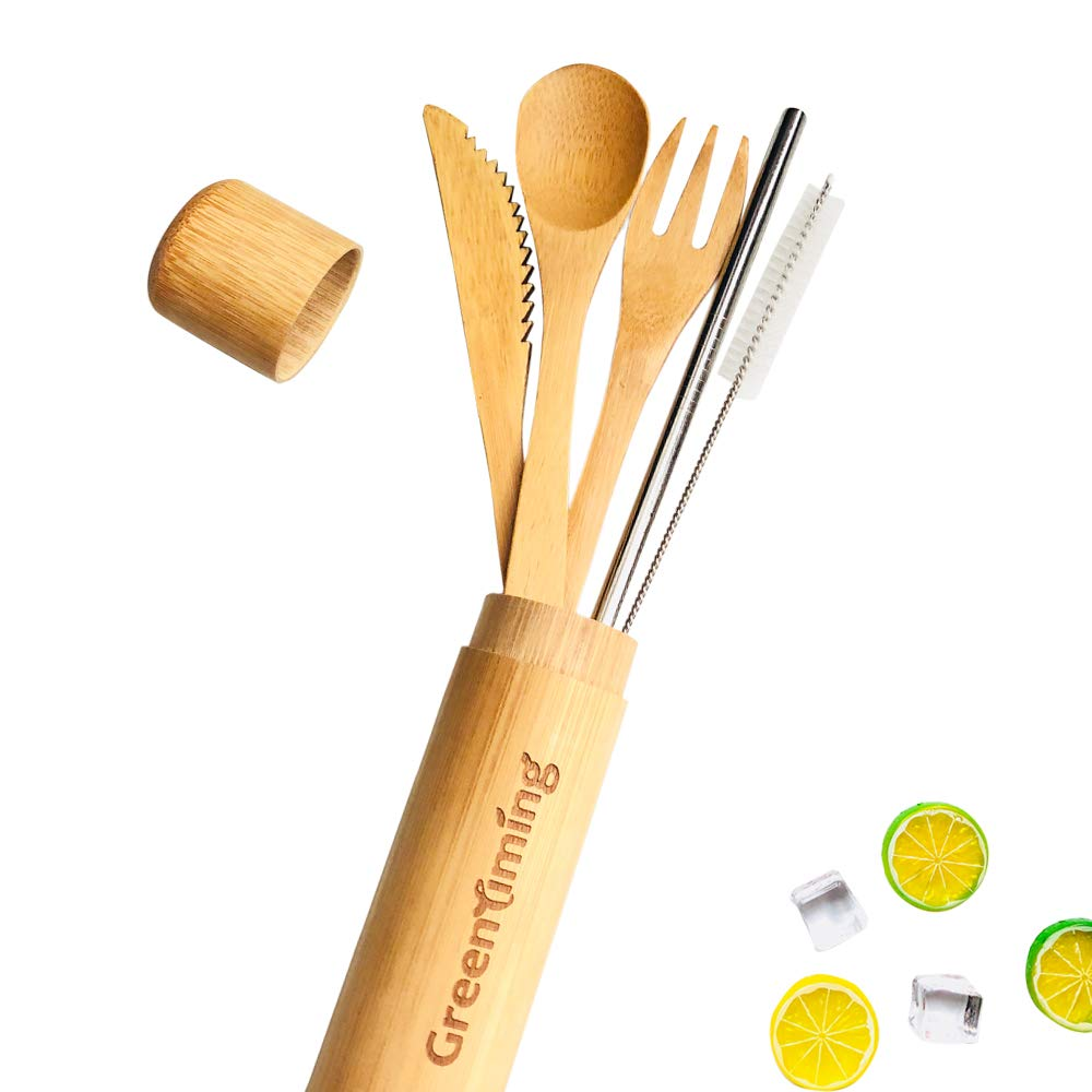 Bamboo Cutlery & Travel Case - Reusbale Utensils Set of 4, bamboo fork knife spoon with 1 straight Metal Straw (Cutlery Bamboo Case Set)