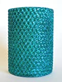 50 Hour-4 Inch Natural Beeswax Hybrid Pillar Glitter Candle, Wild Peacock