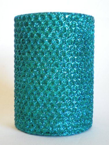 50 Hour-4 Inch Natural Beeswax Hybrid Pillar Glitter Candle, Wild Peacock by Gold Rush