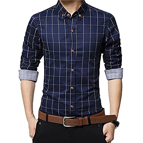 Malavita Men's 100% Cotton Long Sleeve Plaid Slim Fit Casual Snap Buttons Plaid Dress Shirts (US~XL--Asia 3XL, Navy - Button Down Plaid Dress Shirt