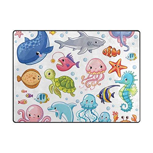 (Vantaso Soft Foam Area Rugs Sea Life Animals Whale Shark Non Slip Play Mats for Kids Boys Girls Playing Room Living Room 80x58 inch)