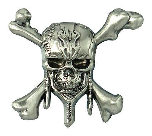 Disney Pirates of the Caribbean-Skull and Cross Bones Pewter Lapel Pin Novelty Accessory Caribbean Skull Bones