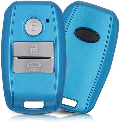 ASARAH ABS Schlüsselhülle für Kia mit Edler Lackierung, Schutzhülle für Autoschlüssel Cover für Schlüssel-Typ KI 3BKL-b - Blau