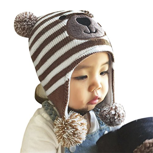 Baby Kids Cute Cartoon Teddy Bear Crochet Knit Fleece Cap Winter Warm Earmuffs Hat Skiing Cap with Ear Flap for Girls Boys 1-3 Yrs (Earmuffs For Boys Toddler)