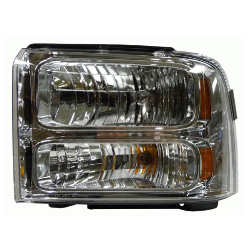 2005 Excursion & 2005-2006-2007 Ford F250 F350 F450 F550 Super Duty F-Series Pickup Truck (XL XLT Lariat King Ranch Extended Crew Cab) Headlight Headlamp Composite Halogen Front Head Light Lamp Left Driver Side (05 06 07)