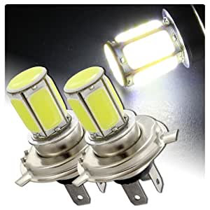 2 x H4 HB2 9003 White 6 LED COB Plasma CREE Light Bulb