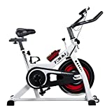 Tauki Indoor Health and FitnessExercise Bike with LCD Monitor, White For Sale