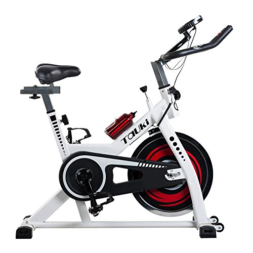 Tauki Indoor Cycle Exercise Spin Bike, Health & FitnessExercise Bike with LCD Monitor Screen and 30lbs Flywheel for Optimal Fitness Training, 300lb Capacity, White