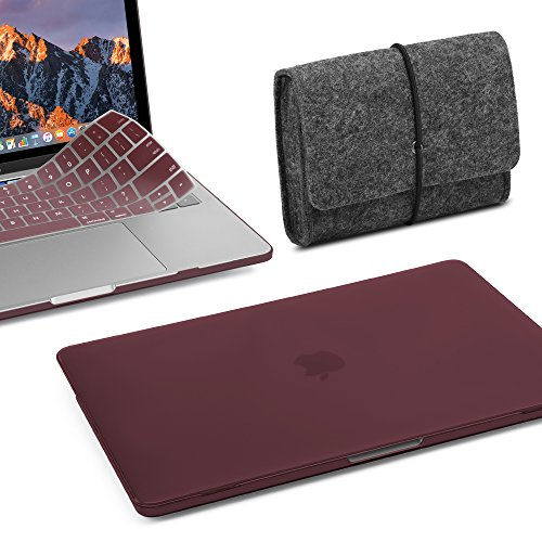 GMYLE 3 in 1 MacBook Pro Touch Bar 13 Inch A1989/A1706/A1708 (2016,2017,2018 Release) Bundle, Hard Plastic Matte Case, Felt Storage Organizer Pouch Bag with Keyboard Cover - Burgundy Set