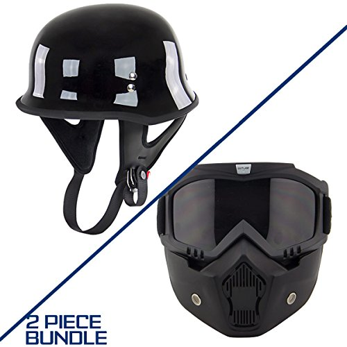 Outlaw T-75 German Style Gloss Black Half Helmet with Outlaw 50 Nemesis Vintage - Large w/ 50 Outlaw - Dot Gloss Outlaw