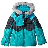 London Fog Big Girls' Color Blocked Puffer Jacket Coat with Scarf, Aqua Brilliance, 10/12