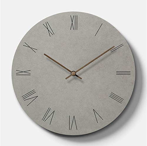 Simple Modern Concrete-feel Wooden Round Wall Clock 11 inch Non-ticking Silent (Roman Numbers)