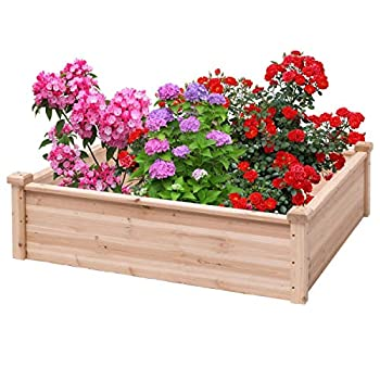 Image of Wooden Square Garden Vegetable Flower Bed Home and Kitchen