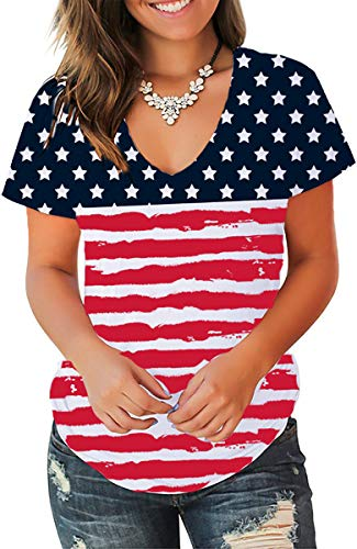 Jescakoo Summer Tops for Women 2019 Stars and Stripes T Shirts Short Sleeve M