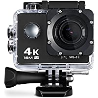 Wifi 4K Action Sports Camera Ultra HD 30m Waterproof DV Camcorder With Built-in Mic, HD 1080P 60fps, 16MP 2inch Display - Black