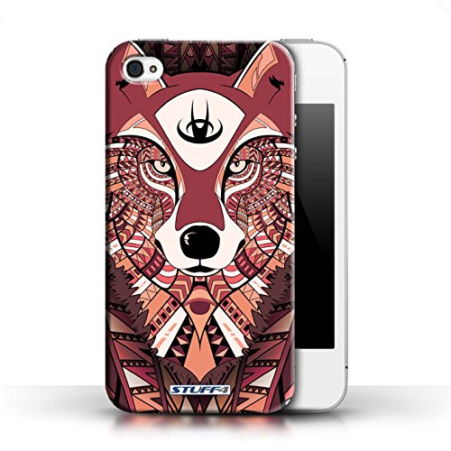 Hülle Case für Apple iPhone 4/4S / Wolf-Rot Entwurf / Aztec Tier Muster Collection
