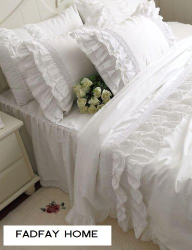 FADFAY Home Textile,Hight Quality 100%Cotton White Ruffle Bedding Sets,Beautiful Snow White Ruffled Lace Duvet Cover Bedding Sets