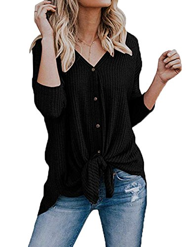 Black Tie Clothes (VYNCS Women's Casual Loose Fitting Button Down Tie Knot Knit Sweaters Shirts Henley Long Sleeve V Neck Tunic Blouse Tops (Black, Large))