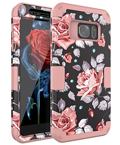 Galaxy S7 Case,OBBCase Samsung Galaxy S7 Case,Three Layer Heavy Duty Hybrid Sturdy Armor High Impact Resistant Protective Cover Case For Samsung Galaxy S7 2016 Release Rose Flower/Rose Gold