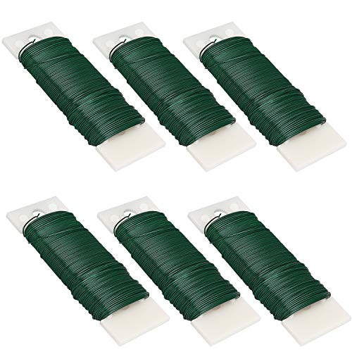 Livder 6 Pack 228 Yards 22 Gauge Green Flexible Paddle Wire for Crafts, Wreaths, Garland and Floral Flower Arrangements