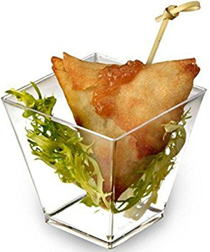 zappy Square 6.8 oz Soup Cup Parfait Dessert Cups Dishes Shot Glasses Trifle Bowl Clear Disposable Plastic Souffle Mousse Cups Ice Cream Fruit Party Appetizer Cube Bowls 40 Dessert Glassess (40 Ct) ()