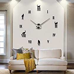 Cats Roman Numbers Deluxe Large Size Contemporary DIY Frameless 3D Big Mirror Surface Wall Clock Oversized Watches Clock Home Decoration Living Room Décor Wall Sticker Decal Self-adhesive (Black)