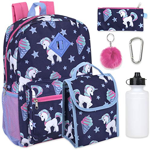 Girl's 6 in 1 Backpack Set With Lunch Bag, Pencil Case, Bottle, Keychain, Clip (Ice)