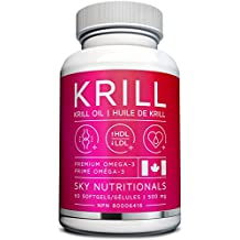 Sky Nutritionals Premium Antarctic Krill Oil Made in Canada 1,000mg per serving, with Omega-3 EPA & DHA Astaxanthin Supports heart, brain and joint health. 60 - Easy to swallow softgel capsules per bottle.