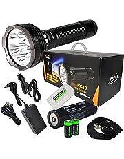 Fenix RC40 2016 Rechargeable 6000 Lumen Cree XM-L2 U2 LED Flashlight/Searchlight, Car/Home Charger, Fenix ARB-L3 7800mAh Battery with EdisonBright Battery Sampler & BBX3 Battery case Bundle