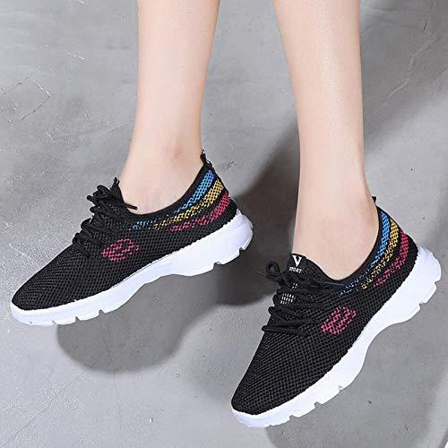 Ocasional de Lazy Femenina otoño del Malla Moda Lace Shoes Air Mujeres Up de de Confort black Las Superficial señoras GUNAINDMX la Las 0pA4qxpOw