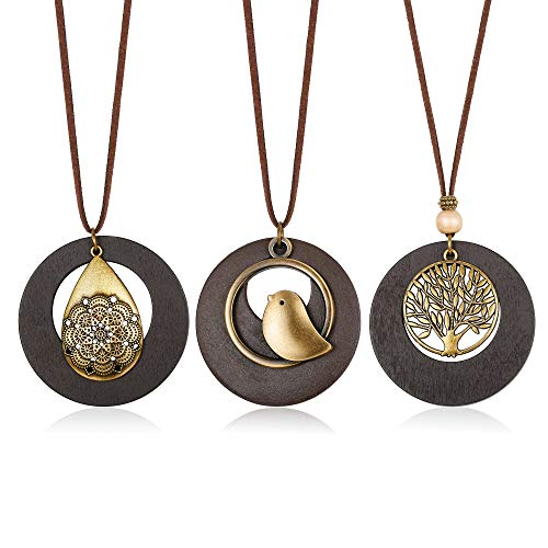 Hanpabum 3Pcs Vintage Handmade Wood Pendant with Cute Charms Long Leather Necklace Sweater Chain for Girl Women Long Necklace All-Match Style Gift