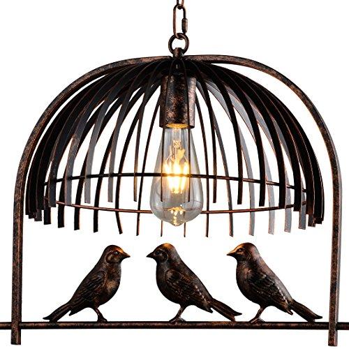 Traditional Birdcage Bronze Pendant Lighting - Battaa CTI5010 (2018 New Design) Creative Lovely Birds Chandelier Vintage Loft Metal Ceiling Lamp for Bedroom Restaurant Cafe Bar 2-Year - Crossbar Chandelier