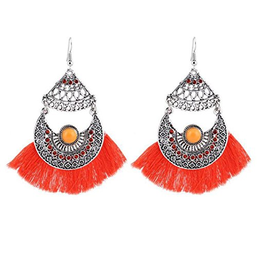 Elogoog Vintage Bohemia Sliver Crystal Chandelier Long Tassel Drop Dangle Hook Earrings for Women Girl (Orange 2) (Enamel Chandelier Earrings)