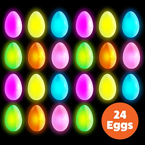 Glow in The Dark Easter Eggs - 24 Pk Plastic Glow Eggs for Easter Baskets, Easter Decorations w/ 72 Mini Glow Sticks Bulk Supply in 5 Assorted Colors -