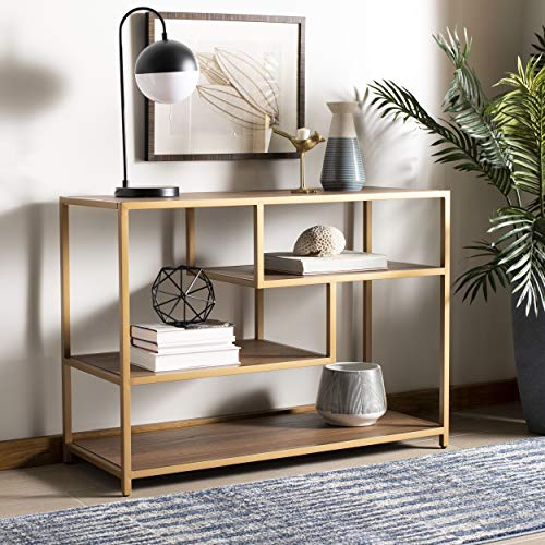 Safavieh CNS6203C Home Collection Reese Walnut and Black Geometric Console Table Gold
