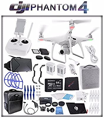 DJI Phantom 4 Quadcopter + Sony 64GB microSDXC Card + DJI Intelligent Flight Battery (2X TOTAL) + Card Reader + Cloth + Backpack + Car Charger & Adapter + 2 Pairs Propeller Blades (Blue) Bundle