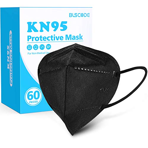 KN95 Face Mask 60 Pack, BLScode Black KN95 Mask Individually Wrapped, 5-Layer KN95 Face Mask with Comfortable Elastic Ear Loops, Filter Efficiency≥95% Breathable Cup Mask
