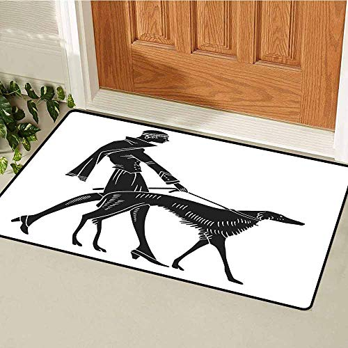 GloriaJohnson Art Nouveau Welcome Door mat Fashion Woman with Dog Walking Model Canines Lady Beauty Illustration Door mat is odorless and Durable W23.6 x L35.4 Inch Black and White (Bunch Of Female Dogs And Garden Tools)