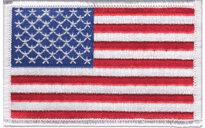 (American Flag Embroidered Patch White Border United States Iron-On Military)