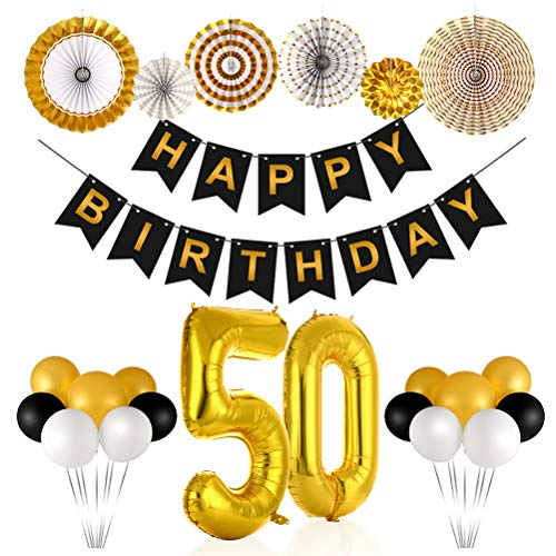 50th Birthday Decorations for Men and Women, Birthday Party Supplies Include Gold Number 50 Mylar Balloons/Paper Fans Set/Black Happy Birthday Banner/Latex Balloons, Bday Decor by -