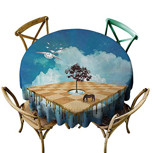 Mystic Polyester Tablecloth Surreal Landscape Over Clouds with Tree Horse and Flying Clocks Birds Illusion Art Party Multicolor (Round - ()