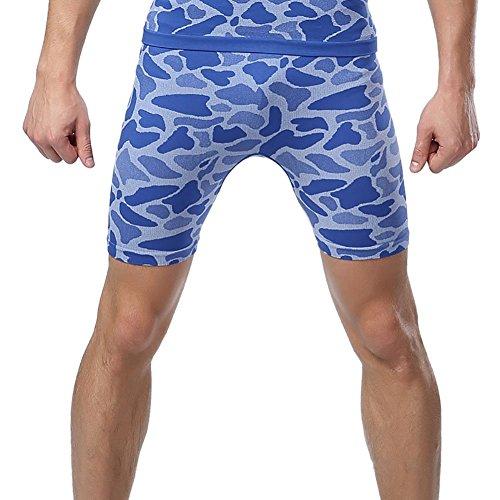 Prettywell Mens Sports Compression Quick Dry Tight Shorts MA-36 (M, Blue)