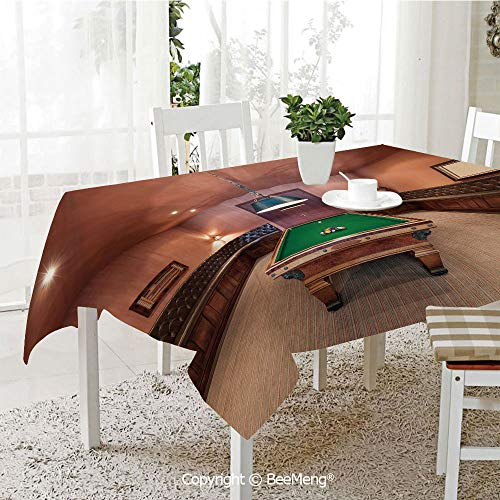 BeeMeng Dining Kitchen Polyester dust-Proof Table Cover,Modern Decor,Entertainment Room in Mansion Pool Table Billiard Lifestyle Photo Print,Cinnamon Brown Green,Rectangular,59 x 59 ()