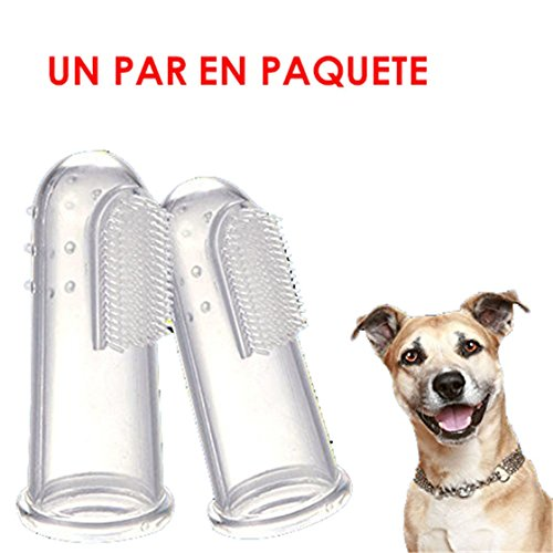 BESTIM INCUK(TM)- 2 Pcs Animales de la dedos cepillo de dientes suave látex perro dientes limpieza limpieza Cuidado Dental de los dientes de gato