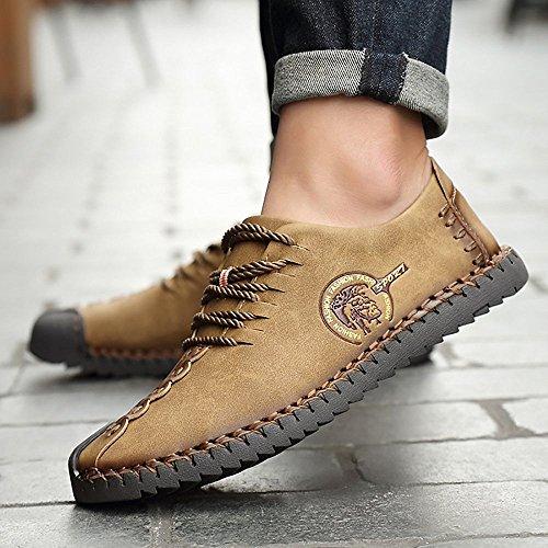 Huateng Calzado Casual Retro Británico Suela de Goma Superior de Microfibra Resistente Al Desgaste Transpirable Peas Zapatos Zapatos de Negocios de Los Hombres marrón