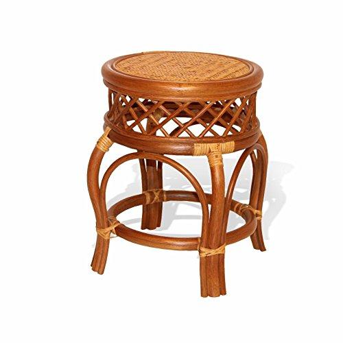 Ginger Handmade Rattan Wicker Stool Fully Assembled Colonial (Light (Rattan Vanity Bench)
