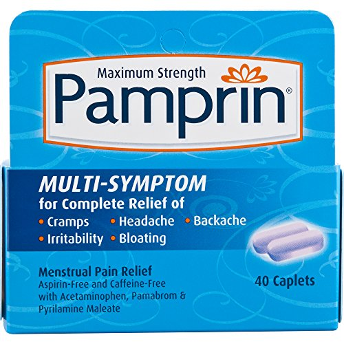 Pamprin Maximum Strength Multi Symptom Menstrual Pain Relief Caplets  40 Count Bottle  Child Resistant Packaging  Three Active Ingredients